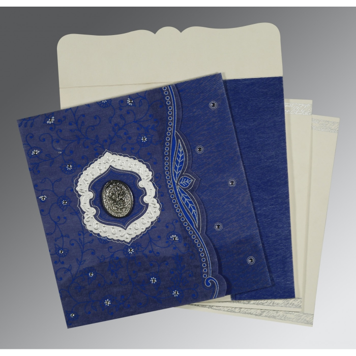 Blue Wooly Floral Themed - Embossed Wedding Card : CI-8209J - IndianWeddingCards