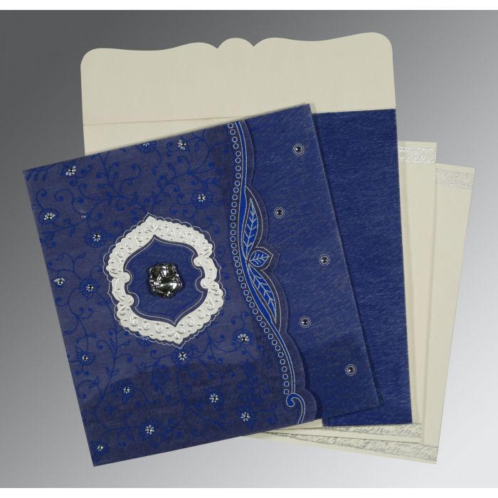 Blue Wooly Floral Themed - Embossed Wedding Card : CW-8209J - IndianWeddingCards
