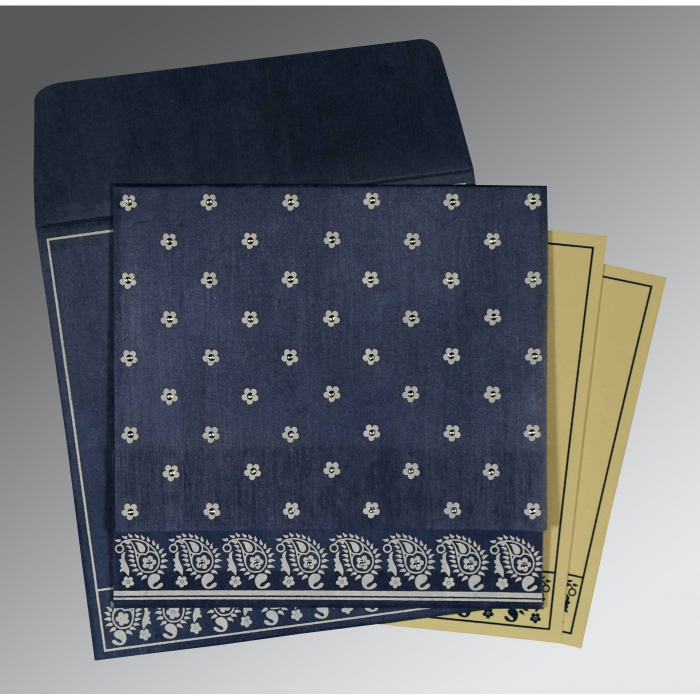 Blue Wooly Floral Themed - Screen Printed Wedding Card : CS-8218K - IndianWeddingCards