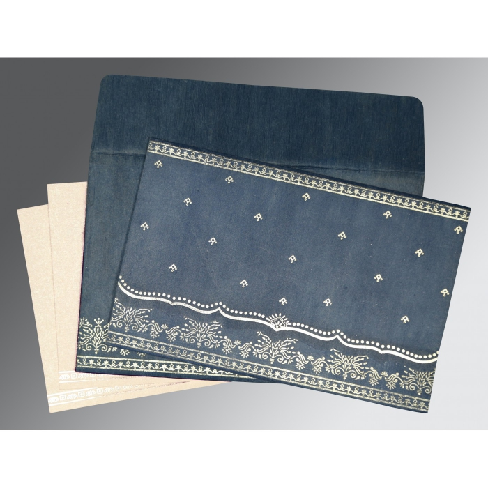 Blue Wooly Foil Stamped Wedding Invitation : CD-8241P - IndianWeddingCards