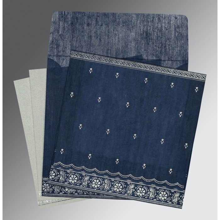 Blue Wooly Foil Stamped Wedding Card : CI-8242J - IndianWeddingCards