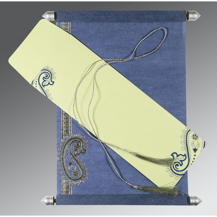 Blue Wooly Foil Stamped Wedding Card : CSC-5015A - IndianWeddingCards
