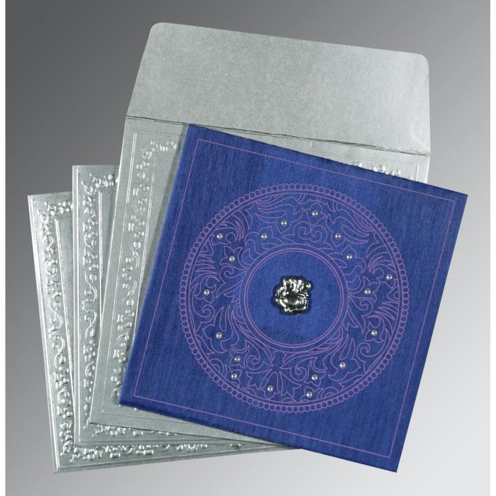 Blue Wooly Screen Printed Wedding Card : CW-8214Q - IndianWeddingCards