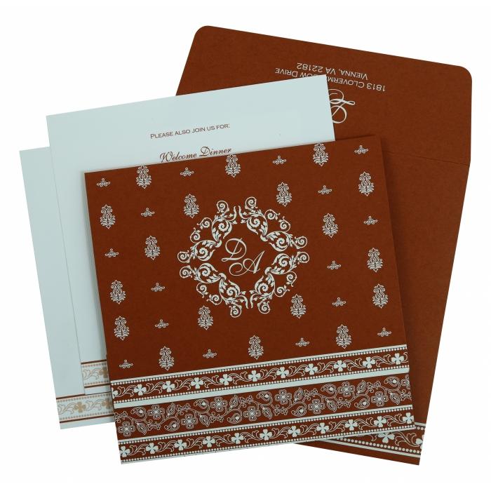 Brick Red Matte Screen Printed Wedding Invitation : CI-808D - IndianWeddingCards
