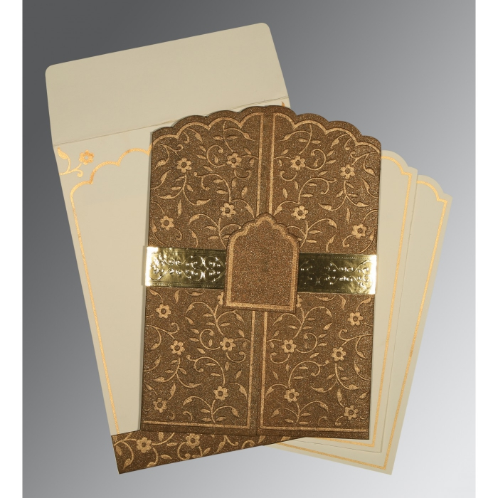 Brown Handmade Shimmer Floral Themed - Embossed Wedding Invitation : CD-1422 - IndianWeddingCards