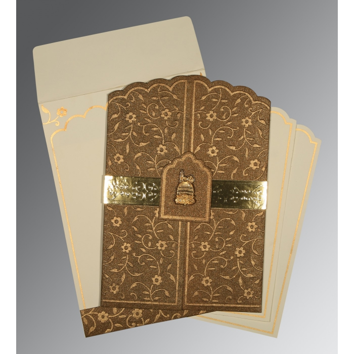 Brown Handmade Shimmer Floral Themed - Embossed Wedding Invitation : CI-1422 - IndianWeddingCards