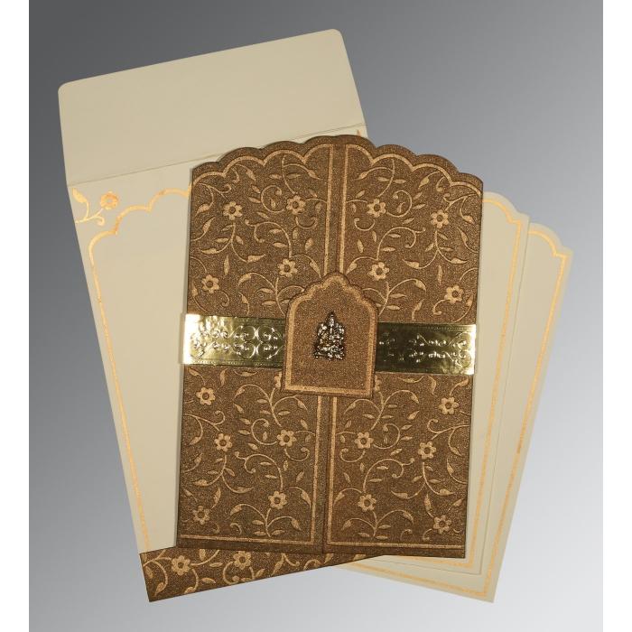 Brown Handmade Shimmer Floral Themed - Embossed Wedding Invitation : CIN-1422 - IndianWeddingCards