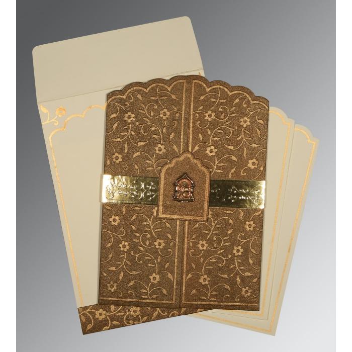 Brown Handmade Shimmer Floral Themed - Embossed Wedding Invitation : CS-1422 - IndianWeddingCards