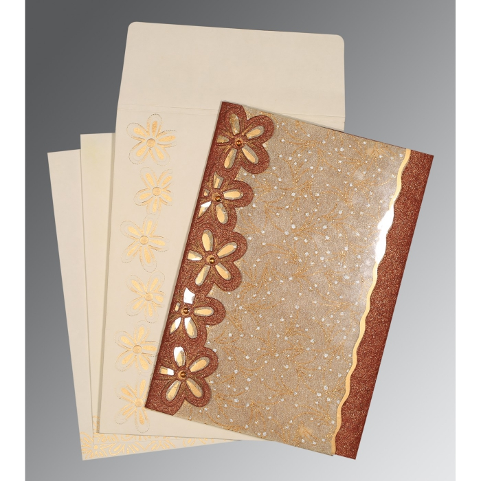 Brown Handmade Shimmer Floral Themed - Screen Printed Wedding Card : CD-1439 - IndianWeddingCards