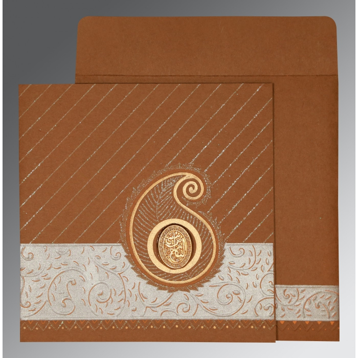 Brown Matte Embossed Wedding Card : CI-1178 - IndianWeddingCards