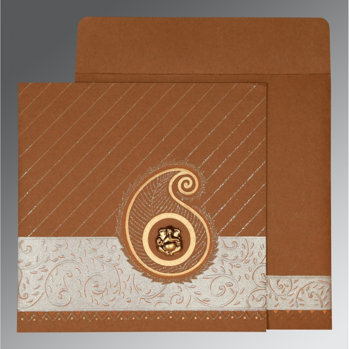 Brown Matte Embossed Wedding Card : CIN-1178 - IndianWeddingCards