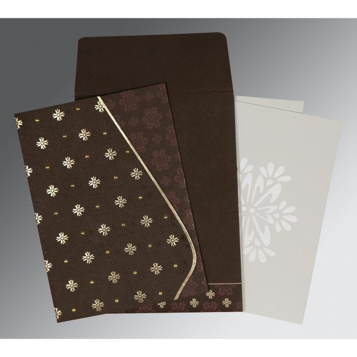 Brown Matte Floral Themed - Foil Stamped Wedding Invitation : CI-8237L - IndianWeddingCards