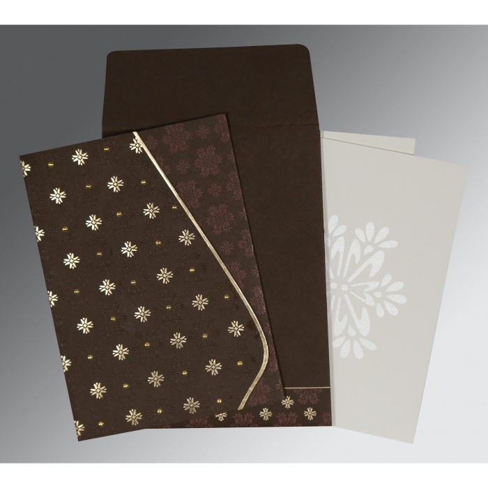 Brown Matte Floral Themed - Foil Stamped Wedding Invitation : CW-8237L - IndianWeddingCards