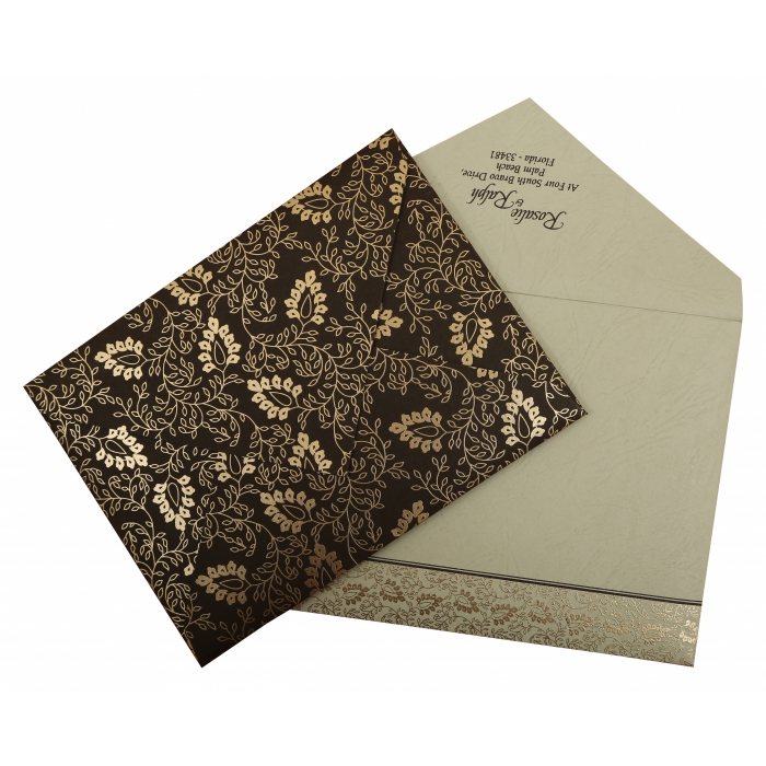 Brown Matte Paisley Themed - Screen Printed Wedding Invitation : CW-811A - IndianWeddingCards
