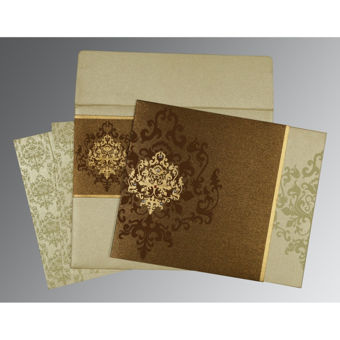 Brown Shimmery Damask Themed - Screen Printed Wedding Card : CD-8253A - IndianWeddingCards
