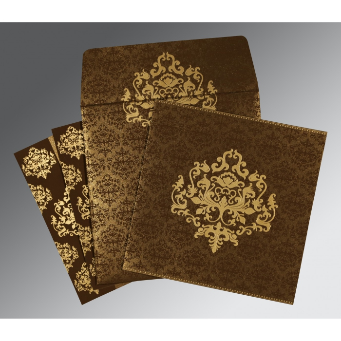 Brown Shimmery Damask Themed - Screen Printed Wedding Card : CD-8254F - IndianWeddingCards