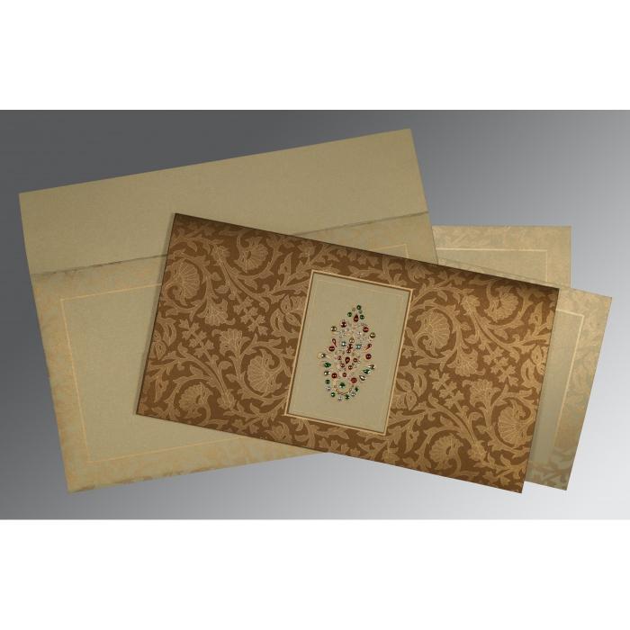 Brown Shimmery Embossed Wedding Invitation : CI-1426 - IndianWeddingCards