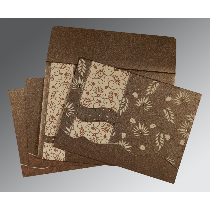 Brown Shimmery Floral Themed - Embossed Wedding Invitation : CD-8236I - IndianWeddingCards