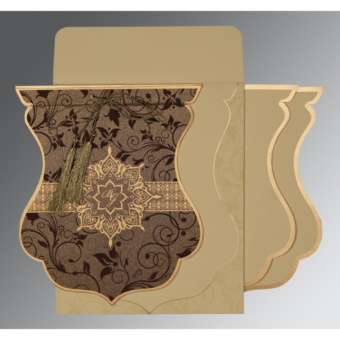Brown Shimmery Floral Themed - Screen Printed Wedding Card : CD-8229C - IndianWeddingCards