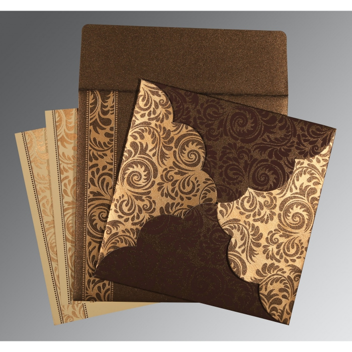 Brown Shimmery Floral Themed - Screen Printed Wedding Card : CSO-8235K - IndianWeddingCards