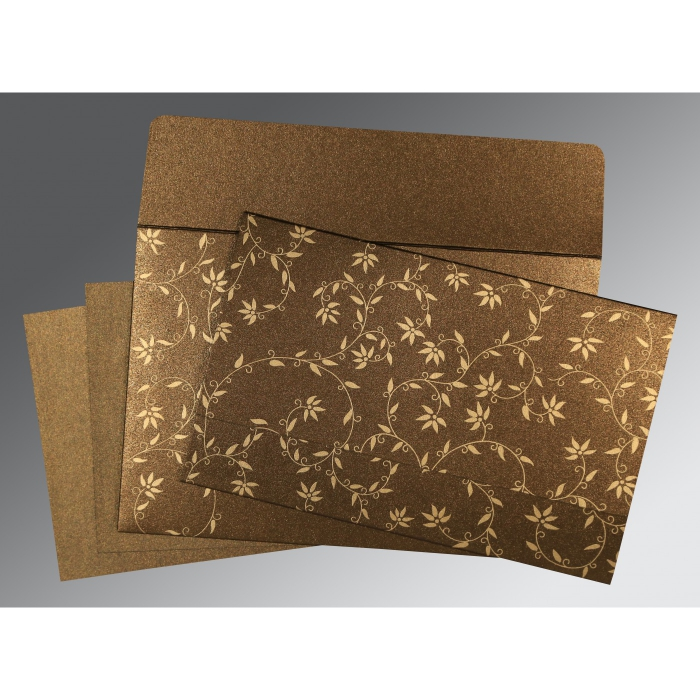 Brown Shimmery Floral Themed - Screen Printed Wedding Invitation : CW-8226N - IndianWeddingCards