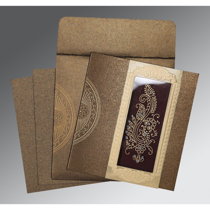 Brown Shimmery Paisley Themed - Foil Stamped Wedding Invitations : CW-8230M - IndianWeddingCards