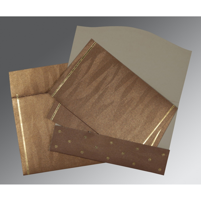 Brown Shimmery Pocket Themed - Foil Stamped Wedding Card : CS-1413 - IndianWeddingCards