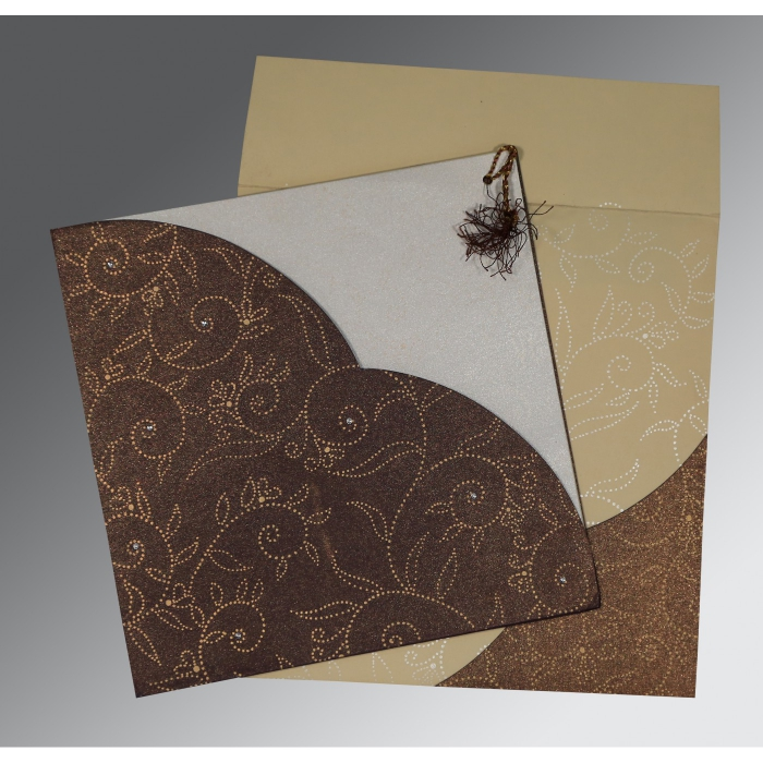 Brown Shimmery Screen Printed Wedding Invitation : CD-1447 - IndianWeddingCards