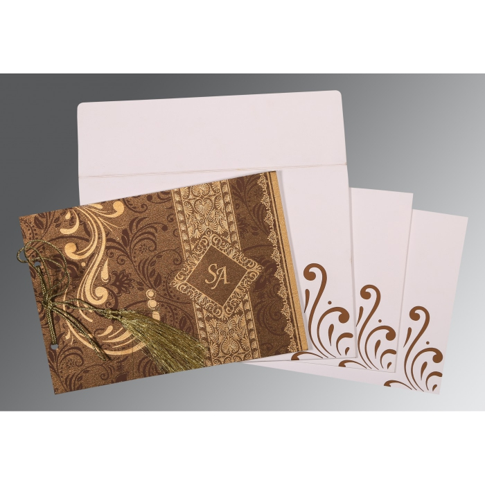Brown Shimmery Screen Printed Wedding Invitations : CD-8223O - IndianWeddingCards