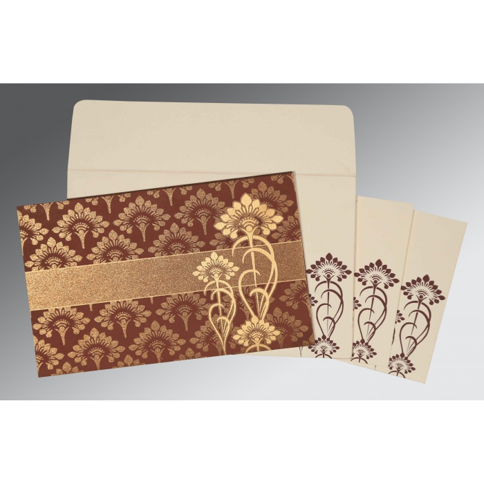 Brown Shimmery Screen Printed Wedding Card : CS-8239C - IndianWeddingCards