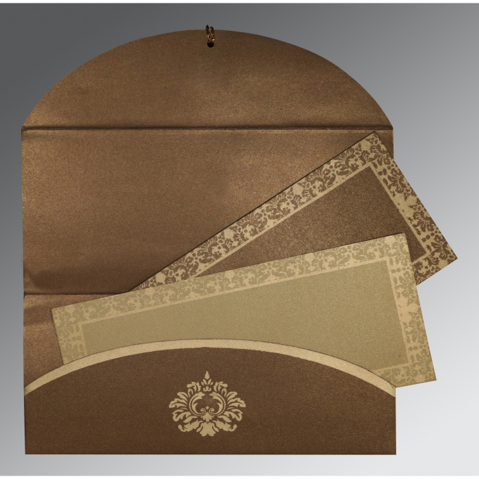 Brown Shimmery Screen Printed Wedding Invitations : CW-1500 - IndianWeddingCards