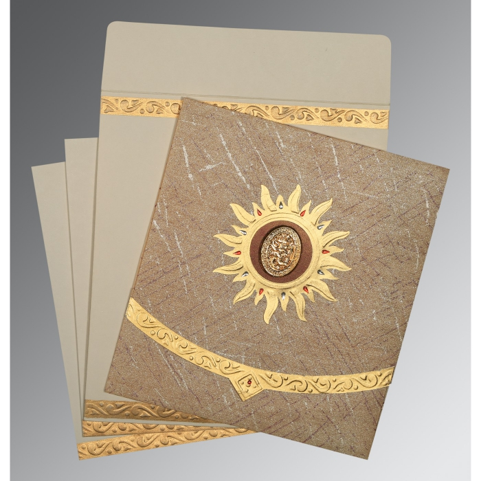 Brown Wooly Embossed Wedding Card : CI-1225 - IndianWeddingCards