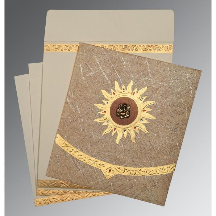 Brown Wooly Embossed Wedding Card : CIN-1225 - IndianWeddingCards