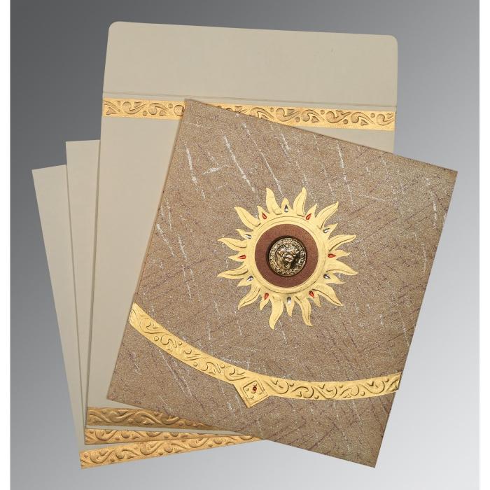 Brown Wooly Embossed Wedding Card : CS-1225 - IndianWeddingCards