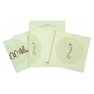 Cream Matte Foil Stamped Wedding Invitation : CW-2297 - IndianWeddingCards