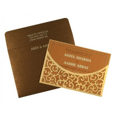 Cream Shimmery Laser Cut Wedding Card : CI-1587 - IndianWeddingCards