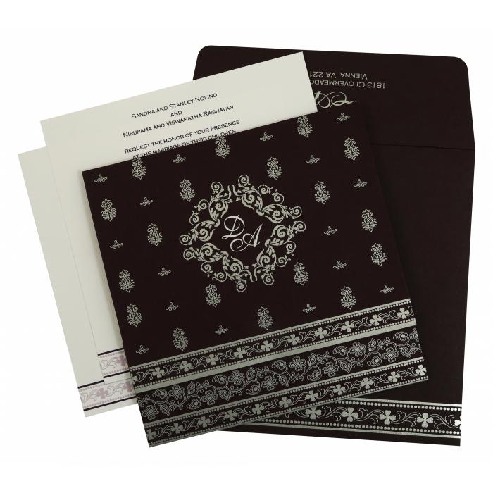 Eggplant Matte Screen Printed Wedding Invitation : CD-808C - IndianWeddingCards