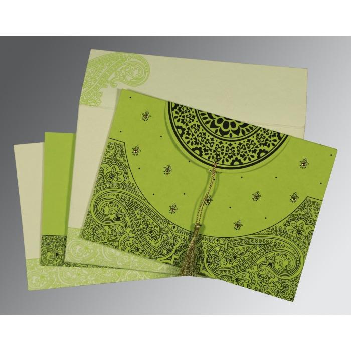Green Handmade Cotton Embossed Wedding Card : CS-8234H - IndianWeddingCards