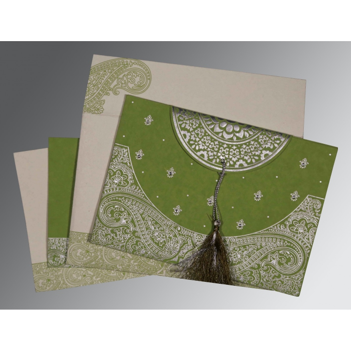 Green Handmade Cotton Embossed Wedding Card : CW-8234C - IndianWeddingCards