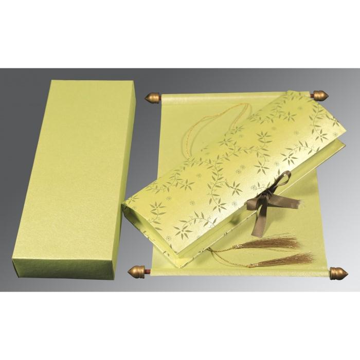 Green Handmade Shimmer Wedding Invitation : CSC-5007I - IndianWeddingCards
