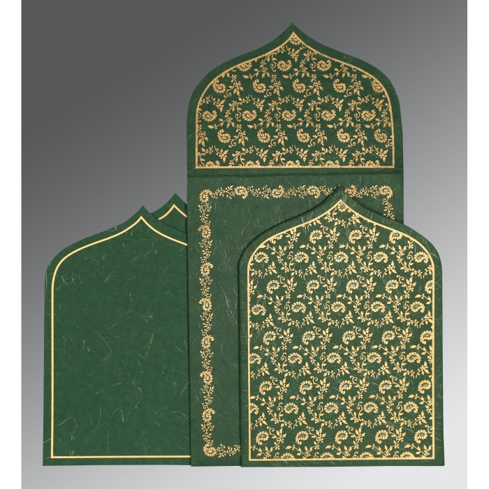 Green Handmade Silk Paisley Themed - Glitter Wedding Invitation : CW-8208L - IndianWeddingCards