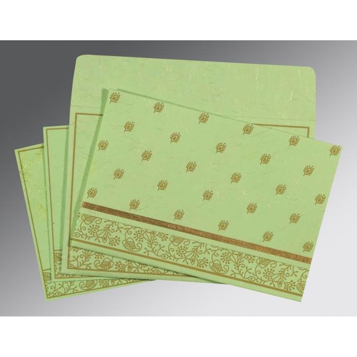 Green Handmade Silk Screen Printed Wedding Card : CW-8215D - IndianWeddingCards