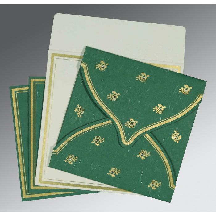 Green Handmade Silk Unique Themed - Screen Printed Wedding Card : CW-8203D - IndianWeddingCards