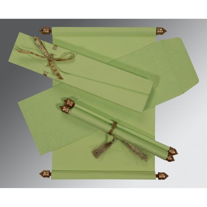 Green Handmade Silk Wedding Card : CSC-5001L - IndianWeddingCards