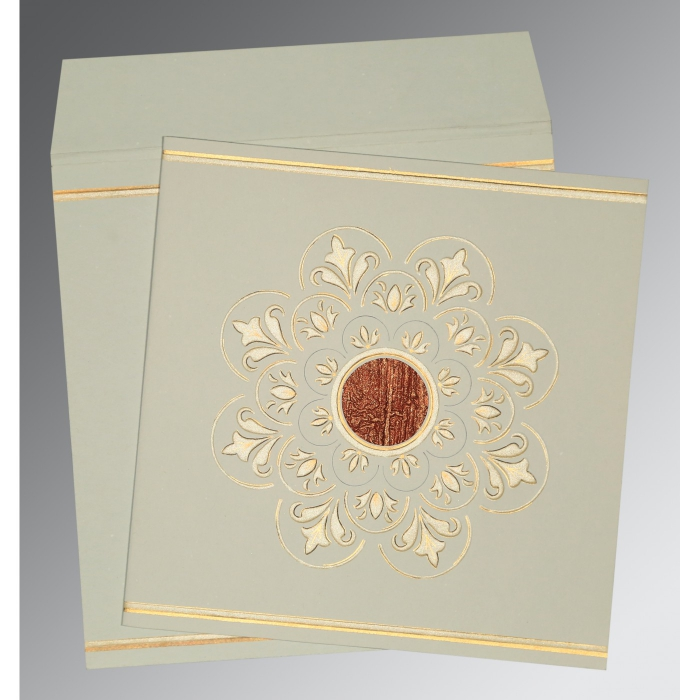 Green Matte Box Themed - Embossed Wedding Card : CD-1190 - IndianWeddingCards