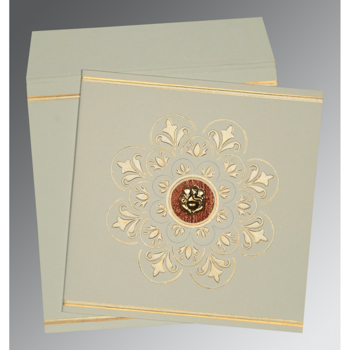 Green Matte Box Themed - Embossed Wedding Card : CW-1190 - IndianWeddingCards