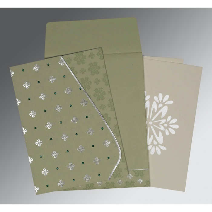 Green Matte Floral Themed - Foil Stamped Wedding Invitation : CD-8237I - IndianWeddingCards