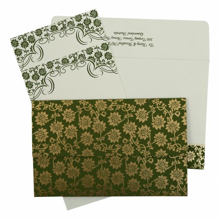 Green Matte Floral Themed - Screen Printed Wedding Invitation : CS-810D - IndianWeddingCards