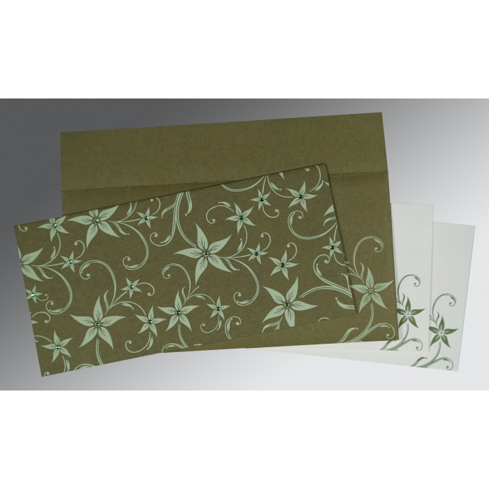 Green Matte Floral Themed - Screen Printed Wedding Invitation : CD-8225F - IndianWeddingCards