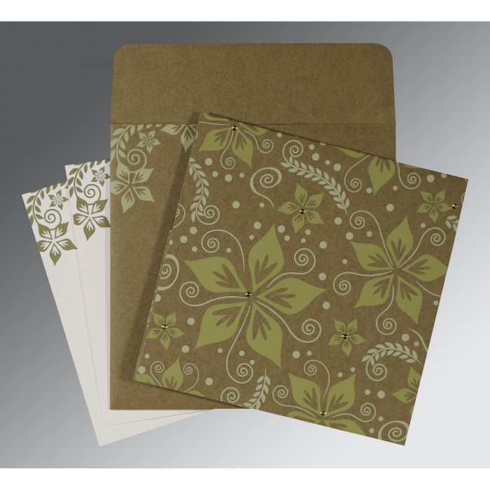 Green Matte Floral Themed - Screen Printed Wedding Invitation : CD-8240F - IndianWeddingCards